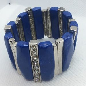 4 for $12: Blue and Silver Tone Statement Bracelet